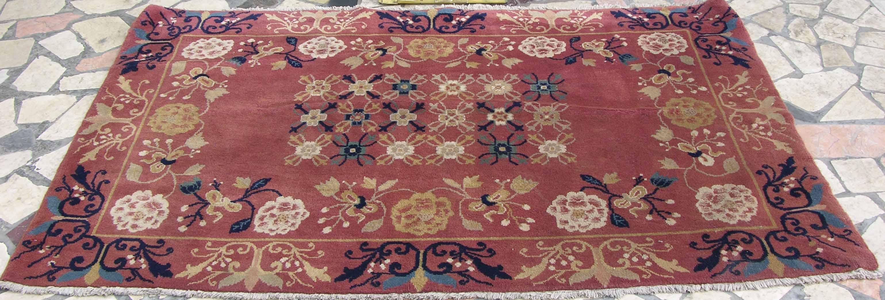 仿包头地毯红底色法式花纹样xn22